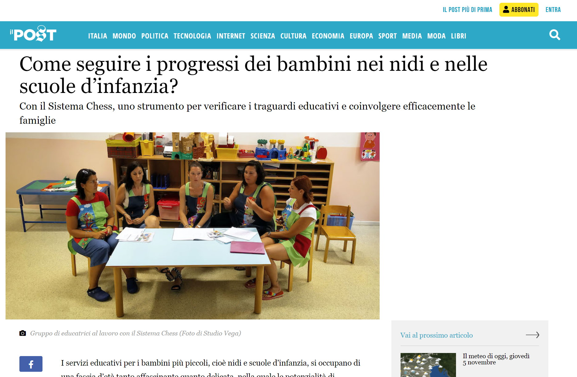 Il quotidiano online Il POST parla di Sistema Chess